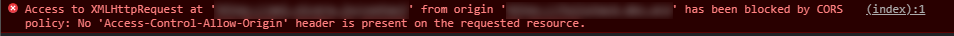 CORS Error as seen in dev console.